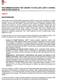 Recommendations for unions to include LGBTI+ concerns during and after the pandemic of COVID-19
